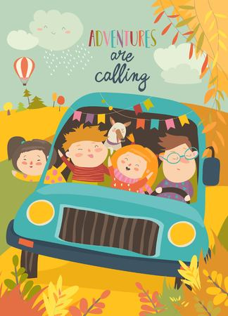 Cute children traveling by bus. Vector illustration