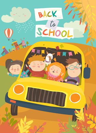 Children on the way to school. Back to school. Vector illustration