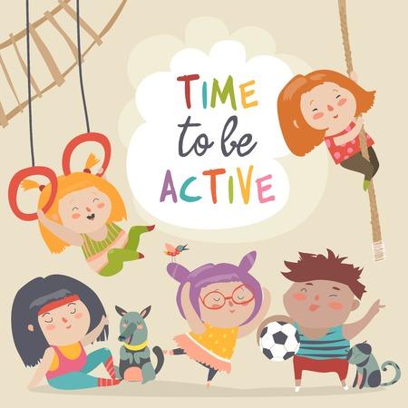 Happy kids and sport. Vector cartoon illustration