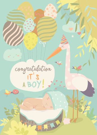 Nice card with stork and baby Standard-Bild - 119621420