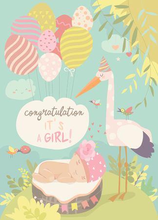 Cigogne mignonne et bébé dans le panier. Illustration vectorielle