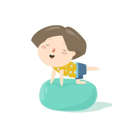 Smiling boy sitting on a pilates ball. Colorful cartoon character vector Illustration