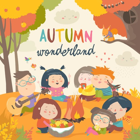 Cute friends sitting around bonfire in autumnal forest. Vector illustration