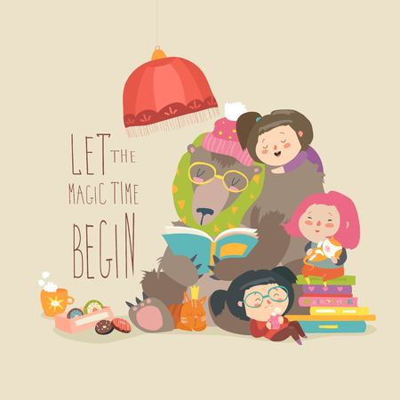 Cute bear reading book for little girls