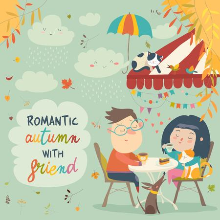 Vector illustration of couple in love on a date in the cafe.