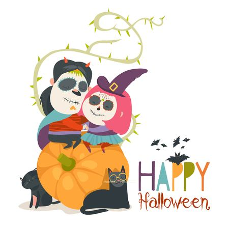 Cute couple in love sitting on pumpkin. Happy Halloween. Vector illustration