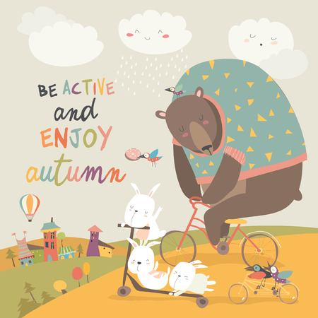 Cute animals riding a bicycles in autumn park. Vector illustration