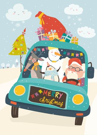 Santa Claus with reindeer, snowman and penguin in yellow car. Vector Christmas card