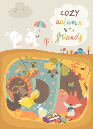 Cute animals reading book in den. Hello autumn
