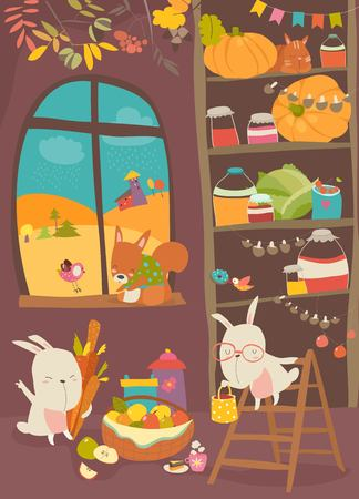 Funny rabbits and squirrel with harvest in home