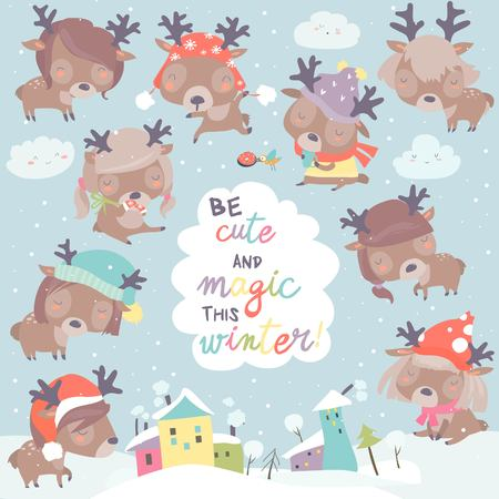 Set with cute little deers on winter background Archivio Fotografico - 119621638