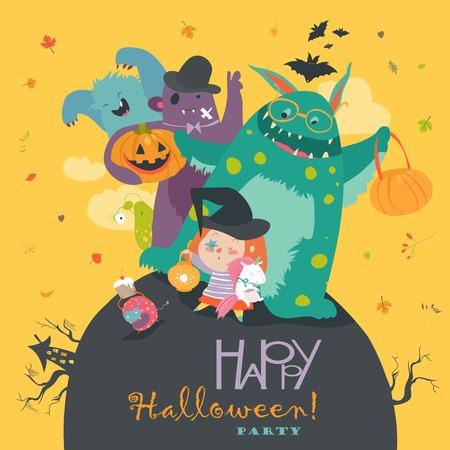 Linda chica con divertidos monstruos. fiesta de Halloween