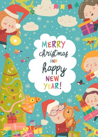 Lindo marco navideño con niños divertidos dibujos animados
