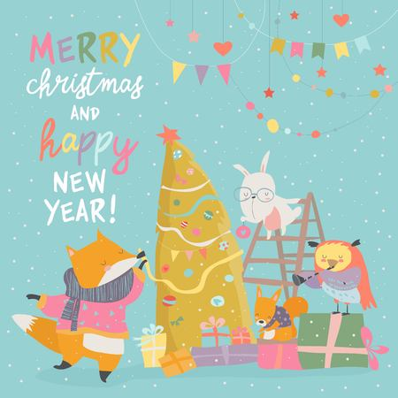 Cute Christmas greeting card with happy animals