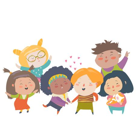 Group of children different nationalities and skin color. Race equality, tolerance, diversity