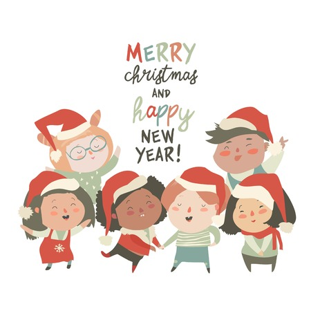 Group of children different nationalities in christmas costumes on white background Stock fotó