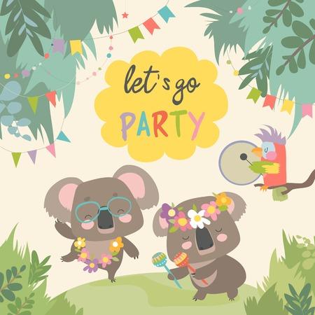 Cute koala dancing with friend on lawn