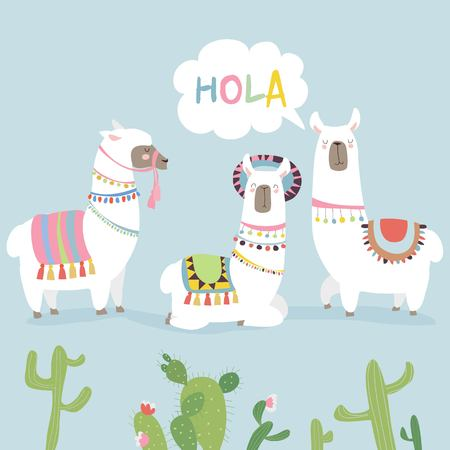 Cute friends mexican white alpaca llamas with cactuses
