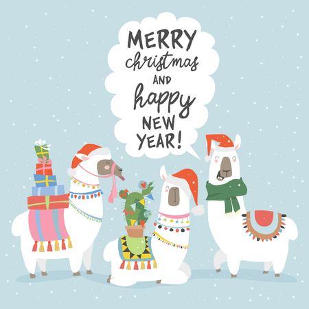 Christmas card with llama. Merry Christmas card Reklamní fotografie - 119621600