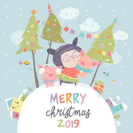 Cartoon little girl with funny pigs. Christmas card. Vector illustration Illustration