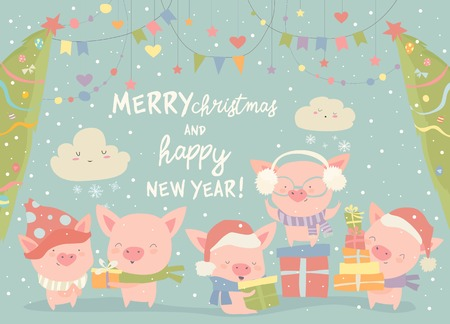 Funny cartoon pigs with Christmas gifts. Vector illustration Illustration