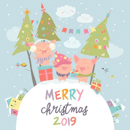 Cartoon funny pigs with gifts. Christmas card. Vector illustration