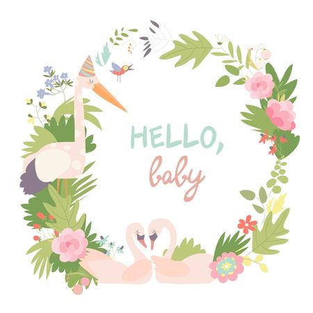 Baby Shower Vector Illustration. Floral Wreath with swans and stork Standard-Bild - 119621529