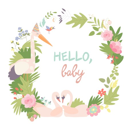 Infantile Style Baby Shower Vector Illustration. Floral Wreath with swans and stork Stock Illustratie