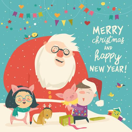 Cute kids in pig costume with happy Santa Claus. Vector greeting card Illustration