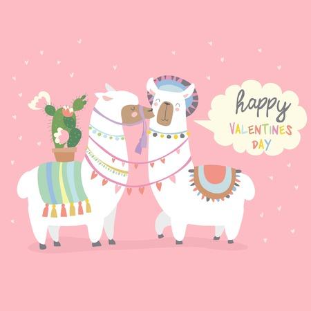 Cute friends mexican white alpaca llamas kissing. Ventines Day. Vector illustration
