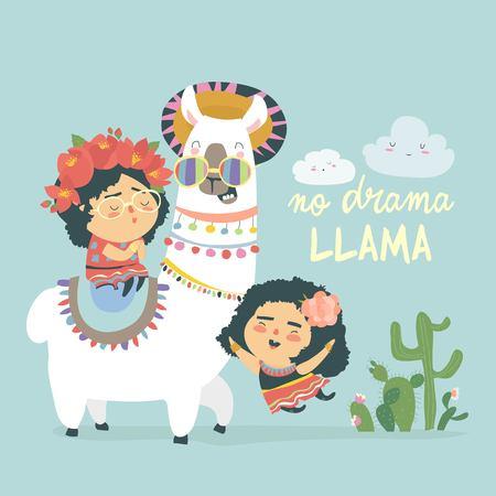 Funny llama alpaka with cute mexican girls. No Drama. Vector illustration