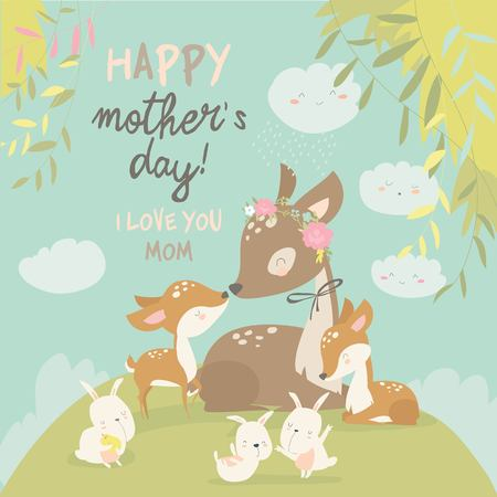 Cartoon Deer family. Mother and baby. Cute animals for Mothers Day. Animals mom and baby. Фото со стока