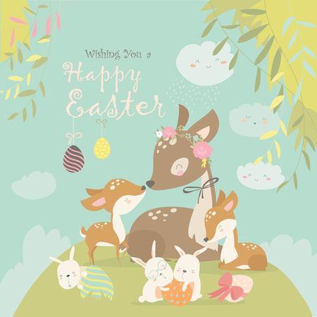 Cartoon Deer family with cute bunnies. Happy animals for Easter. Vector greeting card Иллюстрация