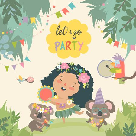 Cute koalas dancing with little girl. Vector illustration Stock Illustratie
