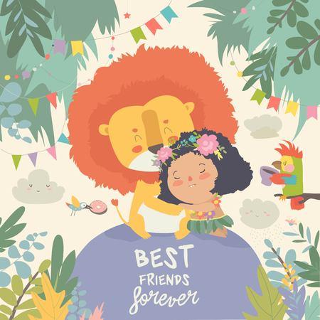 Linda chica de dibujos animados abrazando al león. Mejores amigos. Ilustración vectorial