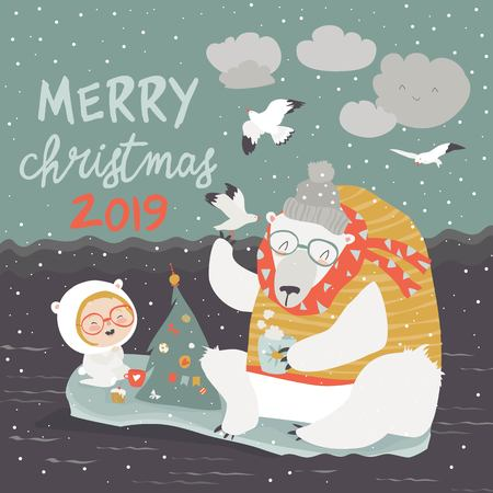 Cute girl and polar bear sitting on ice floes. Merry Christmas. Vector greeting card Illustration