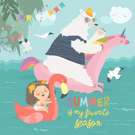 Cute girls and polar bear with a swimming circles Stock Illustratie