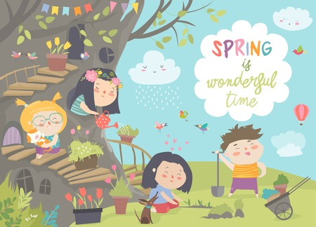 Cute cartoon kids are gardening in spring park