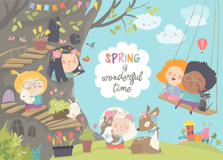 Cute cartoon children with animals in spring forest Stock Photo