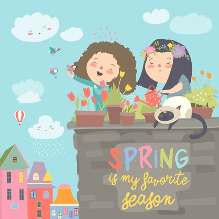 Cute girls standing on a balcony holding watering can in her hand and watering flowers in a pot. Vector spring illustration