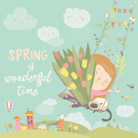 Girl sitting on swing with spring flowers. Vector illustration