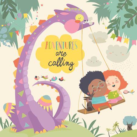 Niños felices con monstruo divertido. Las aventuras están llamando. Ilustración vectorial