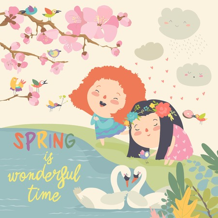 Cute little girls and birds playing in the spring garden. Vector illustration