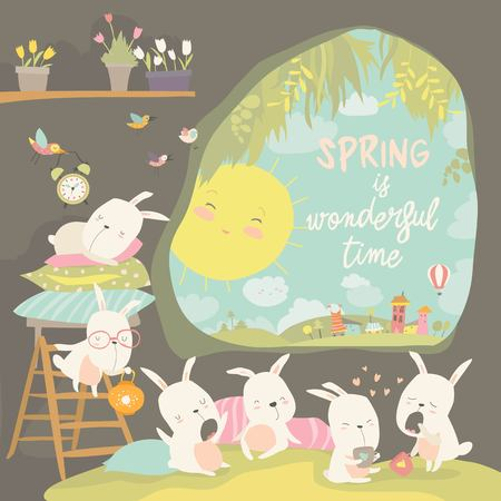 Cute rabbits awaking in hole. Hello spring. Vector illustration