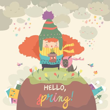 Cute girl holding pot with spring flower. Hello spring. Vector illustration