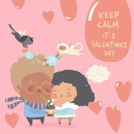 Romantic couple of young man and woman holding a cup of tea. Vector greeting card