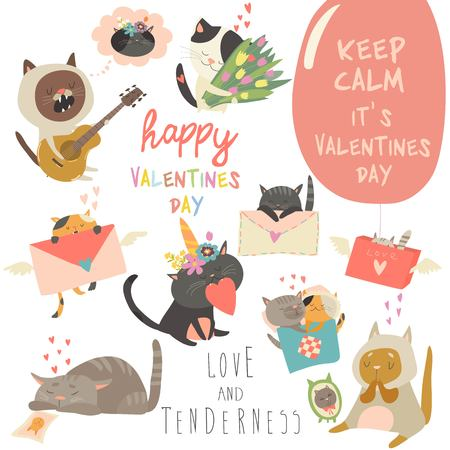 Set of vector cartoon characters cats in love theme. Valentines Day Ilustração