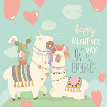 Cartoon mexican white alpaca llamas couple with hearts balloons. Happy Valentines day. Vector greeting card Illustration