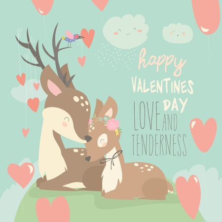 Cartoon deer couple with hearts balloons. Happy Valentines day. Vector greeting card