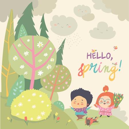 Cute kids running in spring forest. Hello spring. Vector illustration